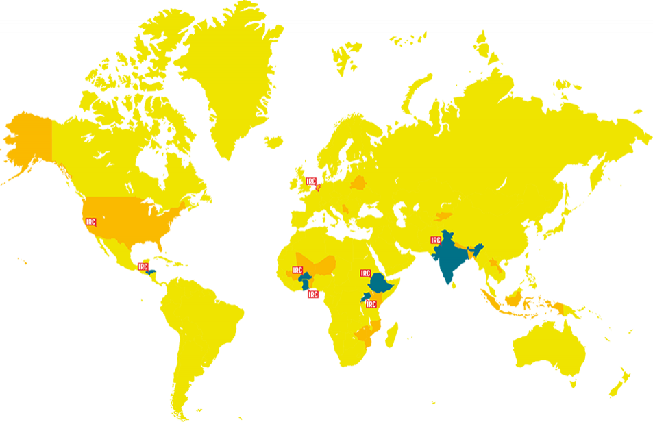 World map of 26 countries IRC is involved in