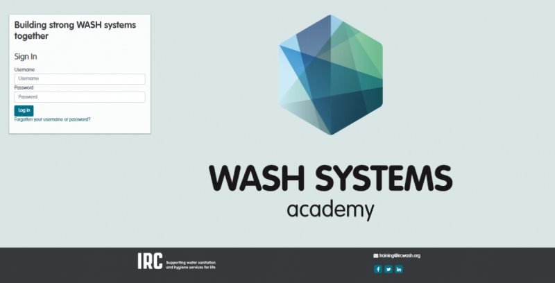 Opening screen of WASH Systems Academy training site