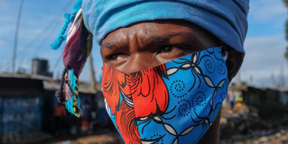 March 26, 2020, Nairobi, Kenya: A local designer David Avido is seen in his self made face mask.