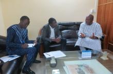 La délégation d'IRC (Célestin et Juste) et le nouveau Président du Burkina