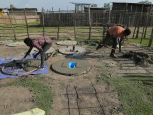 Making latrine slabs in Ethiopia