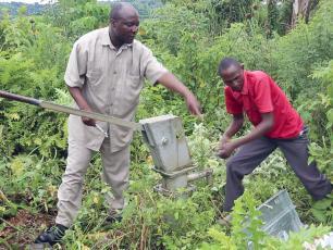 Hand pump mechanics at work in Kabarole district, Uganda
