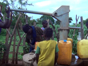 South Ari community fetching water