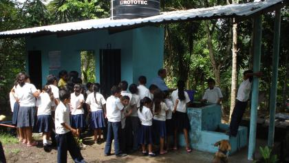 Handwashing at school in Honduras