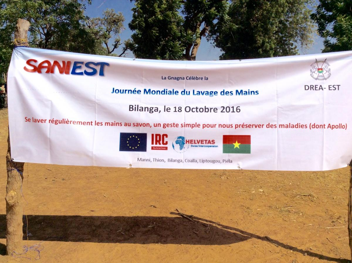 Banner for International handwashing day in Bukina Faso