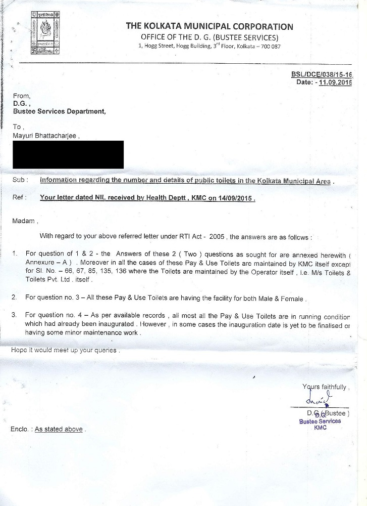 Response to my RTI application about the status of public toilets in Kolkata